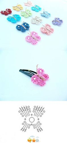 Very cute crochet butterflies; these are on hairclips Any young girl would love this; good for Operation Christmas Child boxes!