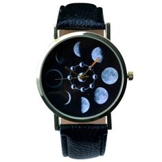 The edge of this watch face features the phases of the moon. Watch is adjustable; one size fits most.
