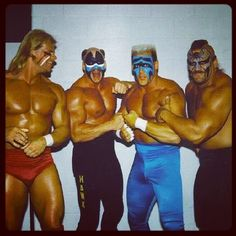 The Road Warriors with Sting and Lex Luger Sting Wcw, Lex Luger, World Championship Wrestling, The Road Warriors, Wwe Tna, History, Boys, Classic, Face