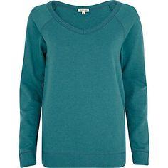 Green V neck sweatshirt - sweaters / hoodies - t shirts / vests / sweats - women