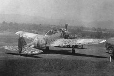 Nakajima Ki-43 Oscar captured after being abandoned by the Japanese at Lashio, Burma in March 1945. The Oscar had already been strafed and damaged by the U.S. 10th Air Force. (U.S. Air Force Photo)