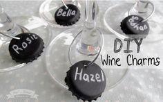 DIY Bottle cap Chalkboard Wine Charms by Pretty Event Design Co.