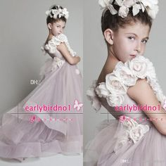 Wholesale Cute new arrival free shipping summer beach wedding flower girls' dresses handmade flowers sweep train formal girls party gowns BO5747, Free shipping, $82.28/Piece | DHgate Mobile