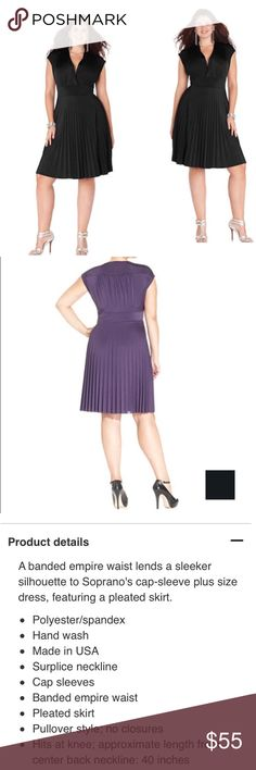 {Plus} Cap Sleeve Pleated Empire Waist Dress Cap Sleeve Pleated Empire Waist Dress. Perfect LBD for any occasion. Comfortable and extremely flattering fit. Color is black. Size is 1X. Brand new with tags never worn. Price is firm, no trades. Soprano Dresses Midi