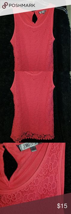 Jennifer Lopez Small Coral / Pink lace top Jennifer Lopez Small Coral / Pink lace top crochet / lace top blouse 10p% cotton Jennifer Lopez Tops Blouses