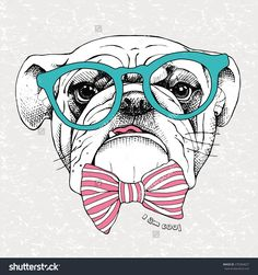 Portrait of a bulldog in green glasses and pink striped tie on gray grunge background. Vector illustration.