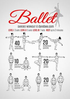 Ballet Workout - get back to what I Simply love! Great workout too! Fitness Workouts, Yoga Fitness, At Home Workouts, Fitness Tips, Health Fitness, Fitness Plan, Fitness Weightloss, Barre Workouts, Barre At Home Workout