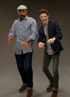 CW's 'The Flash' actors Jesse L. Martin (L) and Grant Gustin pose for a portrait during the CW and Showtime's 2014 Summer TCA Tour at The Beverly Hilton Hotel on July 18, 2014 in Beverly Hills, California