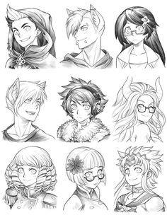 Manga Drawing Design 160704 - Headshot Commissions Sketch Dump 22 by Runshin - Character Design Cartoon, Character Design References, Character Design Inspiration, Character Concept, Character Art, Concept Art, Wie Zeichnet Man Manga, Manga Tutorial, Manga Drawing