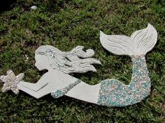 Outdoor Mosaic Sea Shell and Crushed Glass Mermaids and Sea Turtles Made from Wedi Board