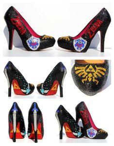 Zelda Glitter Heels with Swarovski Crystals by WickedAddiction