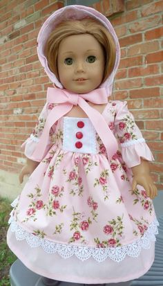 """18"""" Doll Clothes """"Pinkalicious"""" Historical Civil War Style Dress & Bonnet Fits American Girl Dolls Cecile, Marie Grace, Addy"""