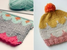 Colorful knits and a scallop hat pattern from Muita Ihania