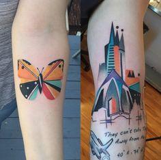 Karl Marks usa muitas cores, detalhes em aquarela e geometrismo para criar tattoos vivas e originais