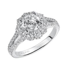Artcarved Bridal: PENELOPE, Diamond engagement ring with round prong set diamond double floral halo and diamond prong set split shank. Timeless Engagement Ring, Split Shank Engagement Rings, Round Cut Engagement Rings, Shop Engagement Rings, Halo Diamond Engagement Ring, Engagement Ring Settings, Diamond Girl, Pretty Rings, Rings For Her