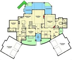 Center-Entry Mountain Ranch - floor plan - Main Level Love the spiral stairs to exercise room Garage House Plans, House Plans One Story, Dream House Plans, House Floor Plans, Modern Courtyard, Courtyard House Plans, Architectural Design House Plans, Architecture Design, Sliding Pocket Doors