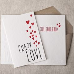 Crazy Love letterpress cards from Smock