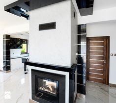 Dom jednorodzinny Biłgoraj - Salon, styl nowoczesny - zdjęcie od Auraprojekt modern fireplace   luxury   inspiration