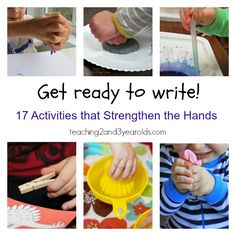 Fine motor squeezing activities to help get the hands and fingers ready for writing - Teaching 2 and 3 Year Olds Preschool Learning, Early Learning, Preschool Activities, Kids Learning, Preschool Writing, Learning Games, Teaching, Writing Activities, Preschool Letters