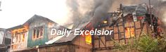 Massive fire engulfs over Six-Seven residential houses gutted completely damaged in Buchwara area of DalgateSrinagar.Excelsior/Shakeel-ul-rehman