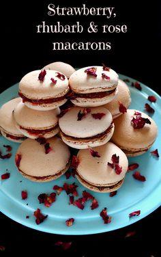 Strawberry, rhubarb and rose macarons #Berrylicious @lovebravissimo