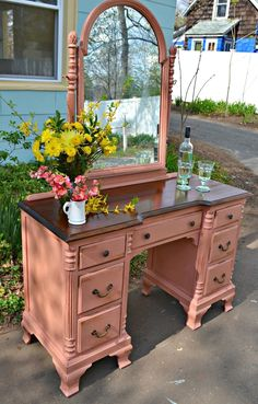 Heir and Space: An Antique Mahogany Vanity in Rose