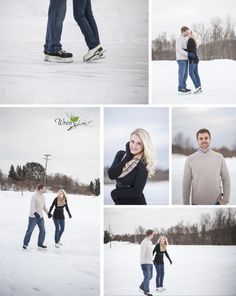 Skating engagement pictures by Wren Photography. Marquette, MI.