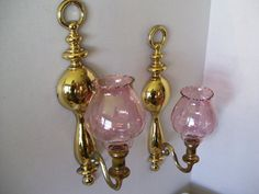 Pink Wall Sconce Candle Holder : Metals, Sconces and Enamels on Pinterest