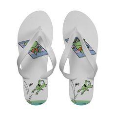 Cute Mort the Frog Swamp flip flops. #zazzle #flipflops #cartoons #frogs #cute #swamp