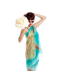 Hand painted silk scarf. Aqua beige floral sarong. Caribbean scarf pareo. Painting on silk by Dimo on Etsy, $108.30 AUD