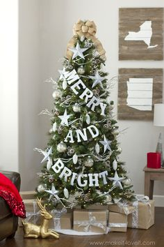 Merry And Bright Christmas Tree Decoration Via Make It Love