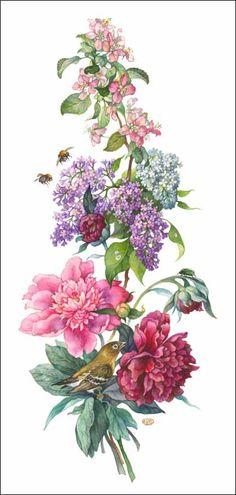 Пионы Botanical Flowers, Botanical Prints, Art Floral, Flower Prints, Flower Art, Illustration Blume, Botanical Drawings, Floral Illustrations, Flower Pictures