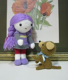 amigurumi crochet doll and puppy by PikaMoKa, via Flickr