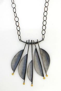 Oxidized Feather Necklace: Sydney Lynch: Gold & Silver Necklace | Artful Home