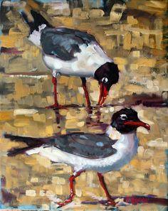 'Good Night Irene' by North Carolina artist, Rick Nilson - perhaps he is wondering how these gulls will fair when Irene hits the NC coast.