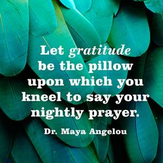 Let gratitude be the pillow upon which you kneel to say your nightly prayer. — Dr. Maya Angelou