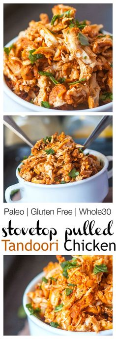 Pulled Tandoori Chicken- Just TWENTY minutes are needed to make this juicy, moist and flavourful pulled chicken with a delicious tandoori sauce! Paleo, dairy free, gluten free and Whole 30 friendly! @thebigmansworld.com -thebigmansworld.com