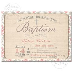 Printable Baptism Invitation - Gray and Pink Girl Baptism Invitation - Christening - No.826