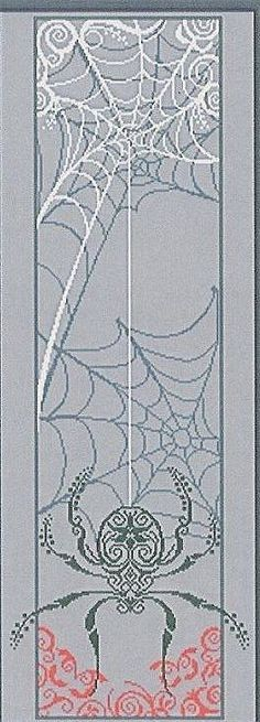 Spider Banner Cross Stitch This would be cool to do for a Halloween decoration