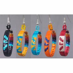 Small quilled Hoop Loops Earrings,   Avery Red Cloud, Lakota