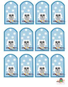 free printable cute snowy owl favor tags