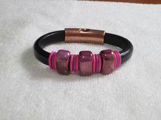 Black Regaliz Bracelet with Ceramic Focal and Colorful Bands
