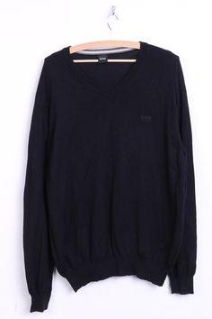 Hugo Boss Mens XXL Jumper Sweater Cotton V Neck Black Classic Top - RetrospectClothes