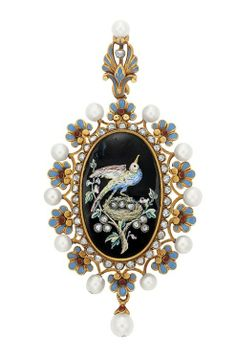 Ornate gold, enamel, pearl and diamond pendant by Carlo Giuliano, 1875-1880.