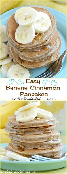 Easy Banana Cinnamon Pancakes drizzled with honey. Make a bunch of these for breakfast on the weekend and the kids can have them again before school during the week!