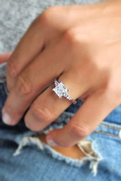 12 Breathtaking Princess Cut Engagement Rings ❤ See more: http://www.weddingforward.com/princess-cut-engagement-rings/ #wedding #engagement #rings
