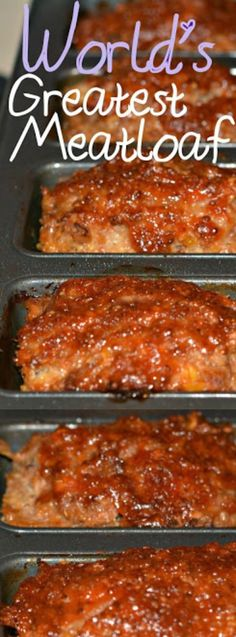The Best Meatloaf Recipes are exactly what& missing from your meal rotation. After trying these recipes, you will want every night to be meatloaf night! Good Meatloaf Recipe, Meatloaf Recipes, Meat Recipes, Cooking Recipes, World's Best Meatloaf Recipe, Amish Recipes, Grilled Meatloaf, Easy Meatloaf, Recipies