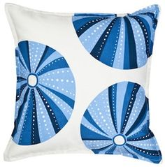 Blue Sea Urchin Square Cotton Canvas Pillow