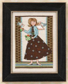 Tea for Two (2012); Mill Hill; Debbie Mumm Kits; Angel Girls; Beads, Linen 18ct , floss, needles, chart and instructions.