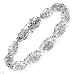 Diamonds Sterling Silver Unisex Bracelet 0.75 ctw - Bracelets - Jewelry at Viomart.com